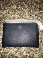 NWT Coach Crossgrain Leather Corner Zip Wristlet (Dark Blue) Retail $78