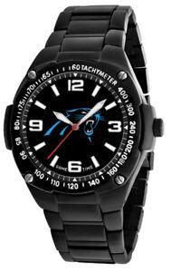 Carolina Panthers Watch Mens Gladiator NFL Black Stainless Wristwatch, NEW