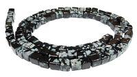 😏 Schneeflockenobsidian Würfel 4 mm Edelstein Perlen Obsidian Strang 😉