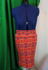 LulaRoe Geometric pencil XL Skirt Bright orange and blue