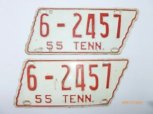 1955 pair TENNESSEE matching LICENSE PLATES Shaped Vintage