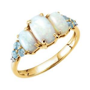 Opal, Swiss Blue Topaz and Diamond 3 Stone Ring 14K Yellow Gold Size 7