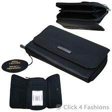 Ladies Real Leather Black Purse Womens Genuine Soft Leather Wallet RFID