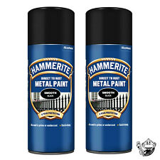 HAMMERITE SMOOTH BLACK SPRAY PAINT AEROSOL CAN X2 DIRECT TO RUST METAL 400ML