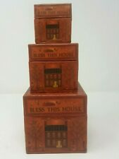 Bobs Boxes Nesting Stackable Bless This House Vintage Set of 3 By Ellen Stouffer