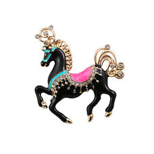 Hot New Fashion Black Enamel Crystals Horse Gold Pin Brooch