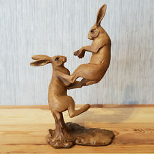 Wood Effect Fighting Hares Animal Figurine Statue Sculpture New Home Decor Gift