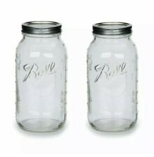 Ball Clear Glass Half Gallon 64Oz Mason Jar with Lid Band Wide Mouth (2 Pack)