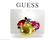 Guess Ring Goldtone With Multicolor Crystals Size 7 New! NWT