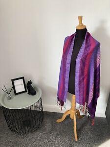 100% Pashmina Shawl Large Scarf Lightweight Cover-up - Purple