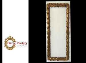 """44 1/8"""" x 18"""" - Hand Carved Picture Frame Gilded in Genuine 22k Gold"""