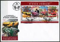 TOGO 2018 30th MEMORIAL ANNIVERSARY  OF ENZO FERRARI SHEET FIRST DAY COVER