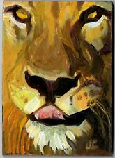 ACEO Original oil painting animal LION Big Cat feline impressionist fine art ATC