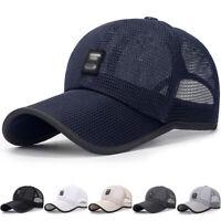 Unisex Solid Camo Mesh Baseball Cap Summer Outdoor Hat Adjustable Sports Sun Hat