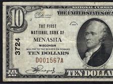 Wi 1929 $10 ♚♚ Menasha, Wisconsin ♚♚ Pmg Vf 30