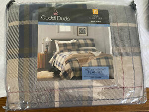 Cuddle Duds Heavyweight Cotton Flannel Sheet Set Size Full. Blue Plaid.  New