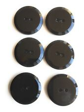Button Set 2 Hole  Tailored Black Jet Glass 6 Pc.