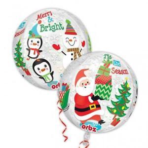 "Christmas Scene Santa, Snowman & Penguins Orbz Foil Balloon 15 x 16"""
