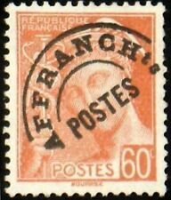 "FRANCE PREOBLITERE TIMBRE STAMP YVERT 83 "" MERCURE 60c ROUGE ORANGE"" NEUF (x) TB"