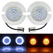 1157 Flat Turn Signals Running White/Amber LED Light Inserts For Harley Touring