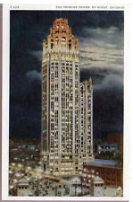 1920 Postcard Tribune Review Newspaper Tower by Night Chicago Illinois Unposted
