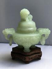 Antique Vintage Chinese Tripod Carved Jadeite or Jade Incense Burner