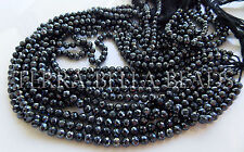 "13"" silver mystic-coated black SPINEL faceted ROUND gem stone beads 4mm - 4.5mm"