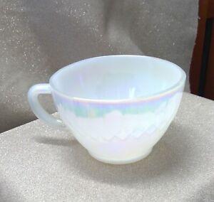 Federal Glass Diamond Point Iridescent Rainbow Swirl Moonglow Tea Coffee Cup VTG