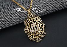 Allah Strass Ketten Anhänger inkl. lange Goldkette Halskette 24 Karat Vergoldet