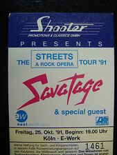 Savatage Ticket 1991 Germany Streets Tour While Supplies Last!