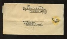 MARITIME GB QV STATIONERY WRAPPER 1 1/2d YELLOW to SHIP ROYAL SOVEREIGN