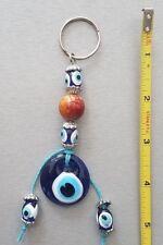 Round Blue Glass Evil Eye Hand Made, Key Holder, height 5''