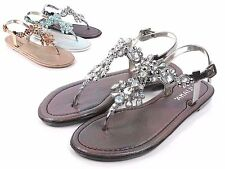 Pewter Slingbacks Ankle Strap Rhinestones Womens Thong Flats Sandals Size 5