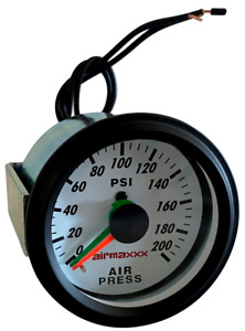 "Air Gauge Dual Needle 200 psi Air Ride Suspension System Part 2"" White Face LED"
