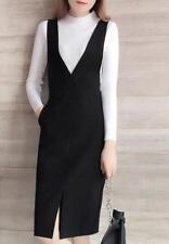 Womens Black V Neck Knee Length Overalls Suspender Dress Wrap Split Skirts