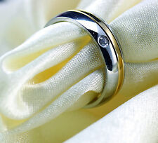 4mm titanium  Gold silver simple wedding engagement ring band size L ali61202