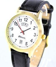 Ravel Gents Big Number Day Date Watch with Black Faux Leather Strap Gold Tone