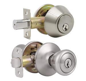Keyed Alike Entry Door Knob & Single Cylinder Deadbolt Combo Set, Satin Nickel