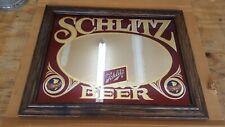Vintage 1981 Schlitz Beer Mirror Bar Sign w/ Oak Frame New Old Stock