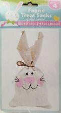 """Easter Bunny Fabric Treat Sacks & Ties 4"""" x 8"""" 4 Sacks/Pk"""