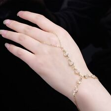 Crystal Beads Chain Bracelet With Finger Ring Metal Inspired Charms Finish