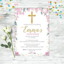 CHRISTENING INVITATIONS BAPTISM INVITE FLORAL CONFETTI PINK GIRLS PARTY SUPPLIES
