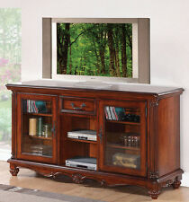 NEW LEYLA TRADITIONAL CHERRY FINISH WOOD ENTERTAINMENT TV STAND CENTER CONSOLE