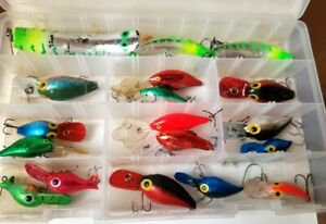 19, Pre RAPALA LUHR JENSEN Fishing Lures, Wiggle Wart,Kwik Fish,++++ W/Plano Box