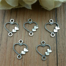 Diy 50pcs Tibet Silver Love Heart Crafts Charms Pendants Making Jewelry  New