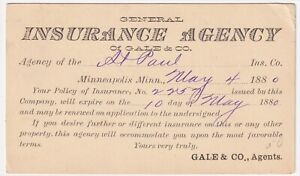 MINNEAPOLIS AGENCY OF ST PAUL INSURANCE  POSTED 1880 TO GEORGE FLORIDA, ROCKFORD