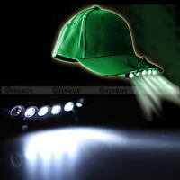 Clip On 5 LED Head Cap Hat Light HeadLamp Headlight for Outdoor Fishing Camping