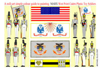 Marx. Cadets 60mm Unpainted Plastic figures & paint guide 2 sets (18 figures)