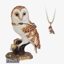 Secrets from Hidden Treasures BARN OWL Pewter Trinket Box & Pendant (1044) NEW