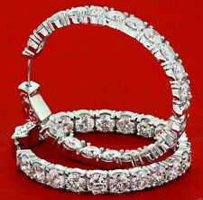 WOMEN'S DIAMOND HOOP EARRINGS ROUND 4.45CT DIAMONDS SET IN 14K GOLD